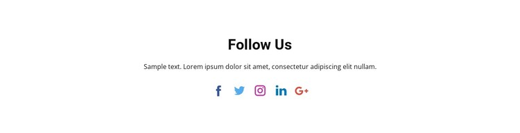 Social icons with text WordPress Template