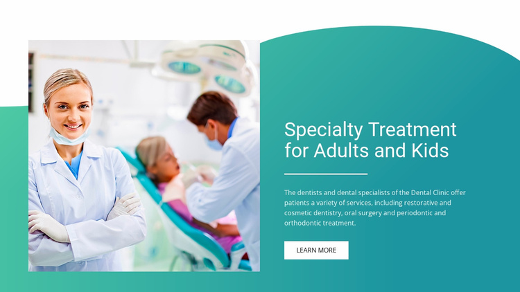 Specialty treatment for adults and kids Website Template
