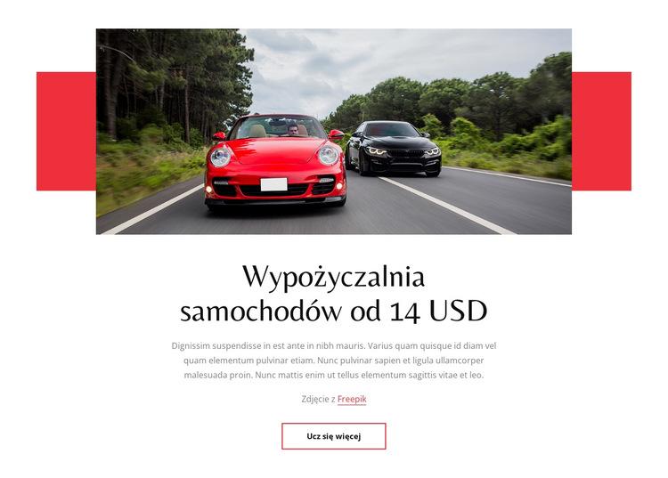 Wynajem samochodów od 14 USD Szablon witryny sieci Web
