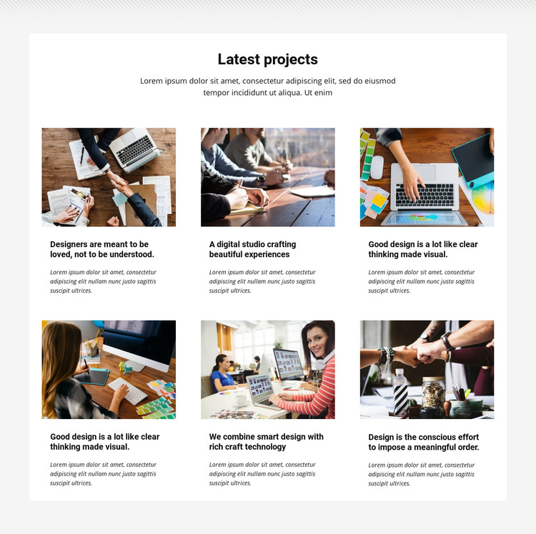 Collection latest projects Homepage Design