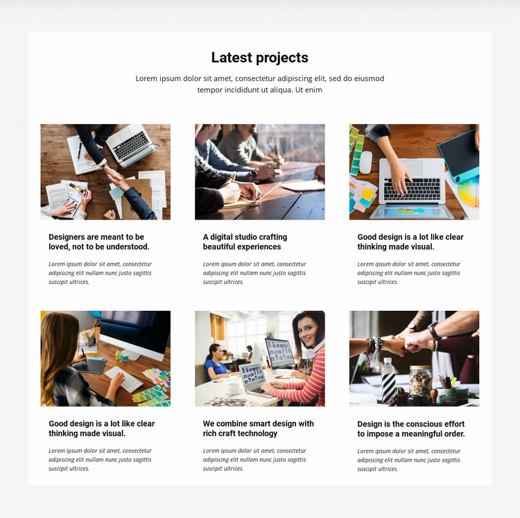 Collection latest projects Website Builder