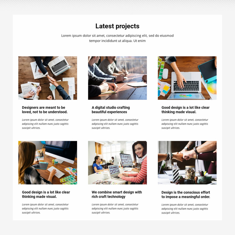 Collection latest projects Website Template