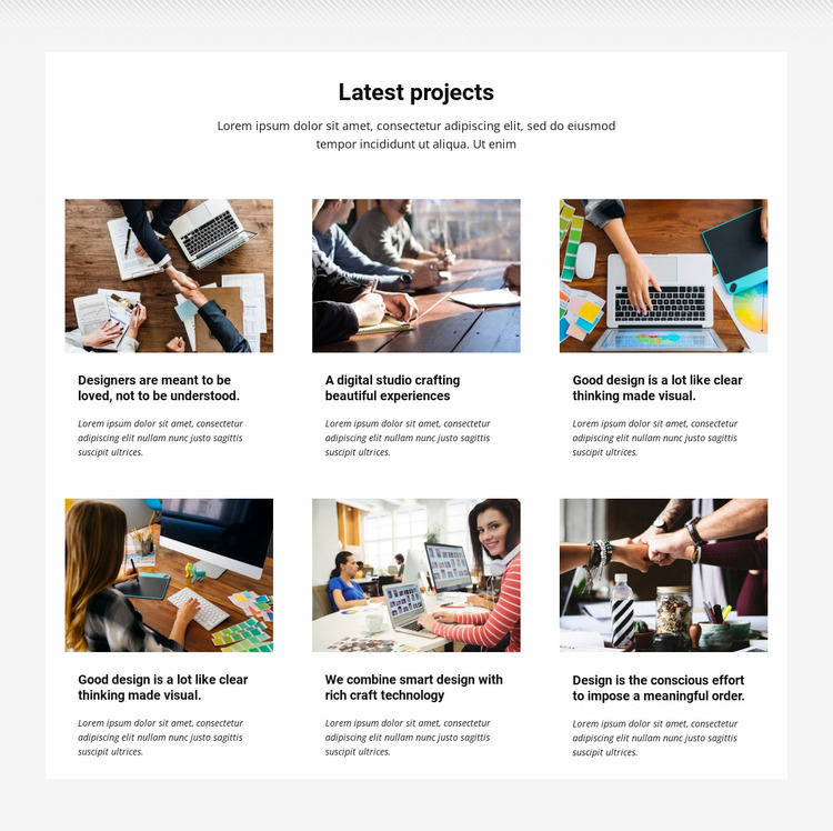 Collection latest projects WordPress Website Builder