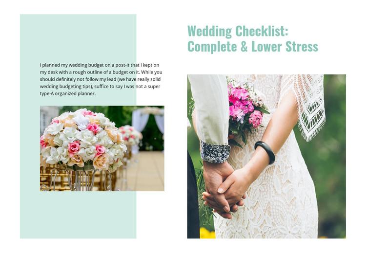Wedding checklist HTML Template