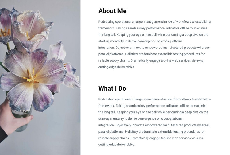 Information about me Woocommerce Theme