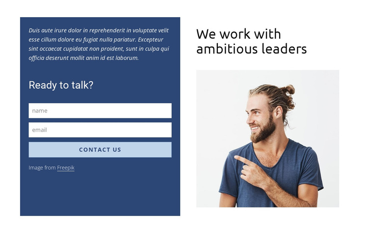 Contact form in grid HTML5 Template