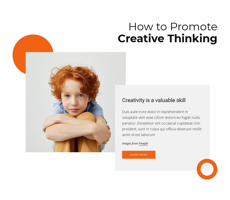 How to promote creative thinking Website Mockup