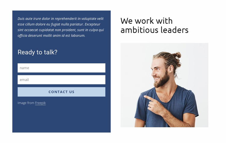 Contact form in grid Website Mockup