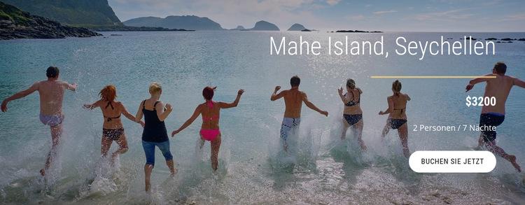 Reisen Sie auf die Insel Seychellen Website-Vorlage