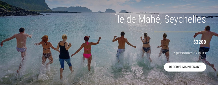 Voyager sur l'île des Seychelles Modèle de site Web