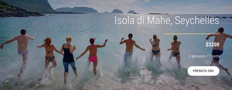 Viaggia sull'isola delle Seychelles Modello di sito Web