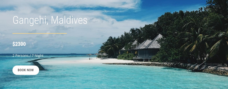 Vacations in Maldives Website Builder