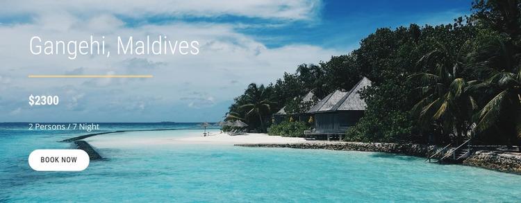 Vacations in Maldives Website Mockup