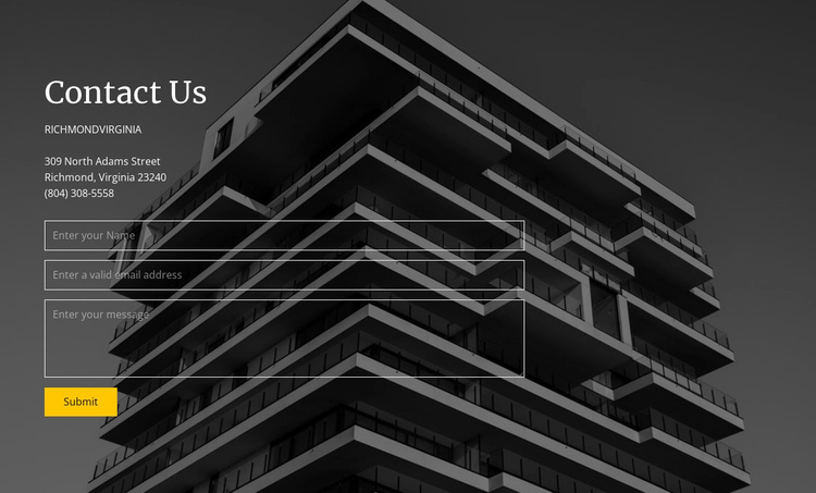 Building company contacts info Website Template