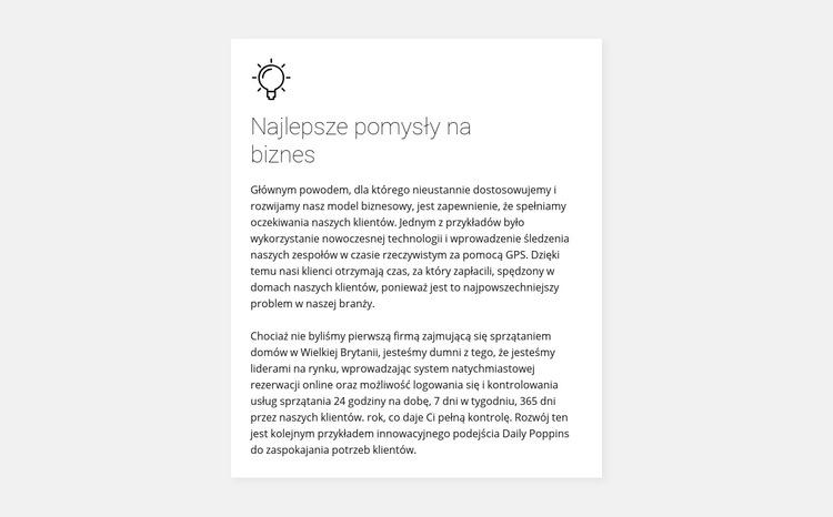 Karta z tekstem na tle Szablon witryny sieci Web
