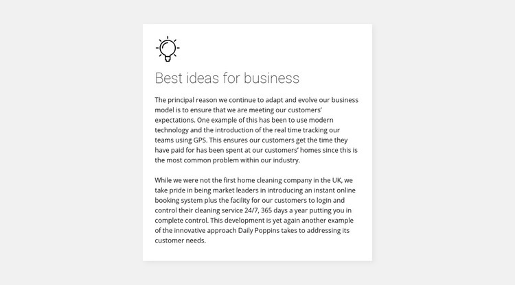 Card with text on background Web Page Design