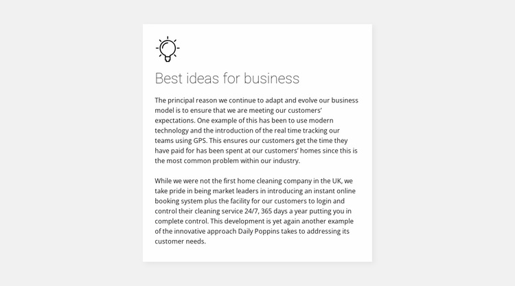 Card with text on background Website Template