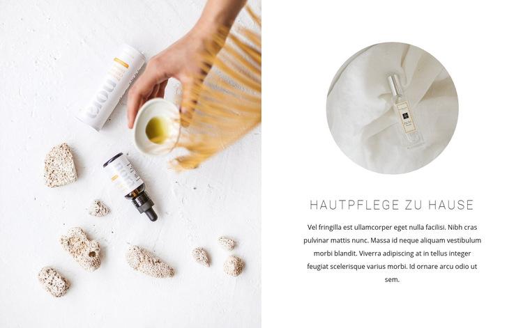 Hautpflegeöle Website-Vorlage