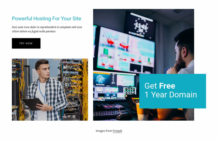 Get free 1 year domain Website Template