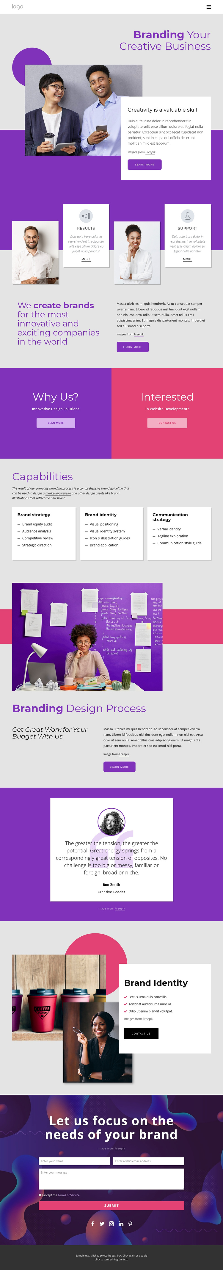 International brand and design agency One Page Template