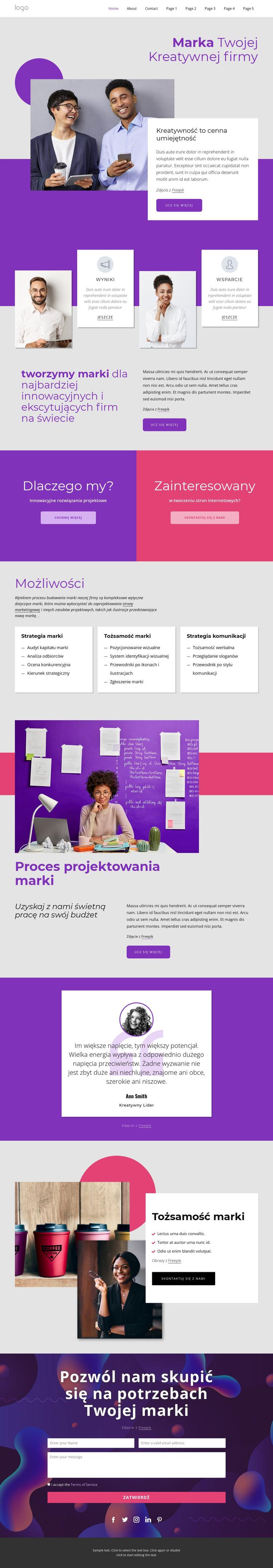 Międzynarodowa agencja marki i projektowania Szablon witryny sieci Web