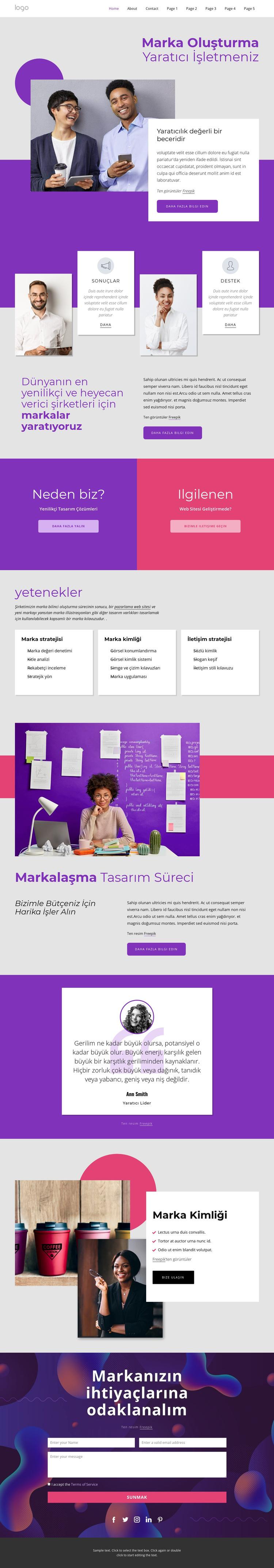 Uluslararası marka ve tasarım ajansı Web Sitesi Şablonu