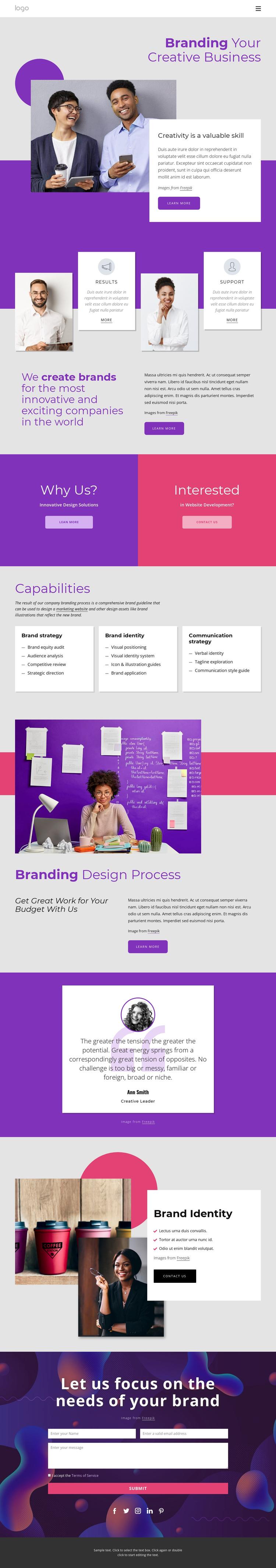 International brand and design agency Website Builder Software