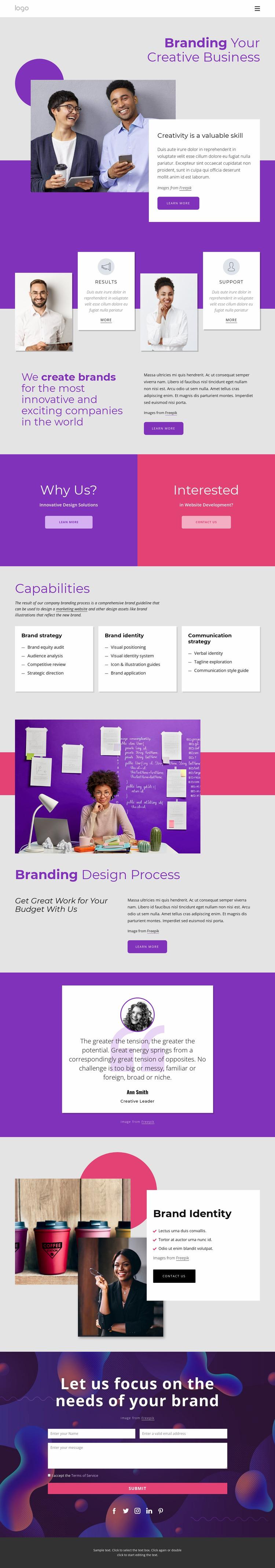 International brand and design agency Website Mockup