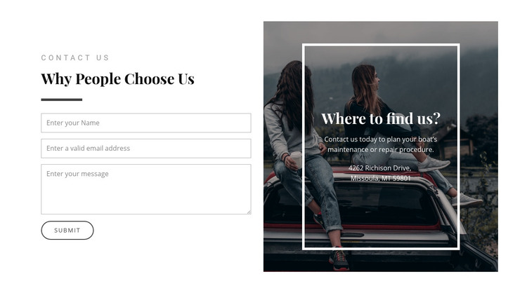 Where to find us Homepage Design