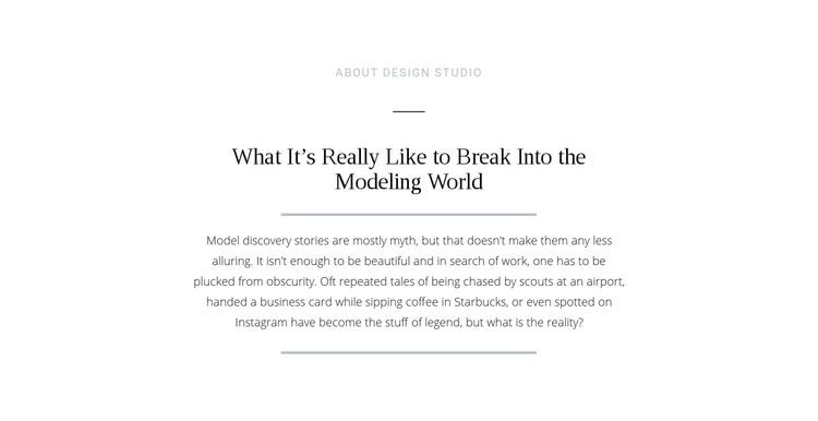 Text break modeling world Homepage Design