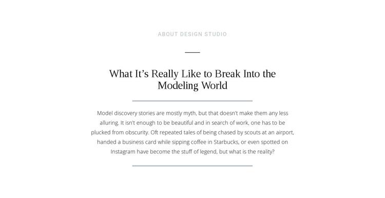 Text break modeling world Web Design