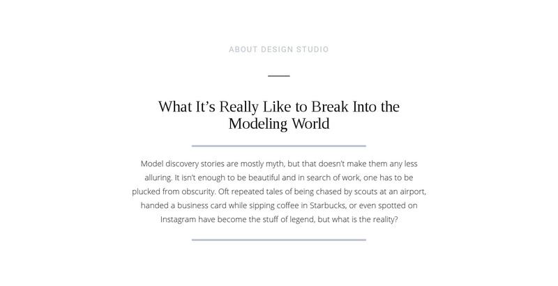 Text break modeling world Web Page Design