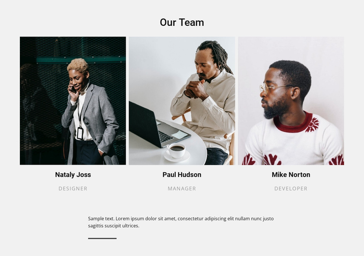 Our team and text Website Builder Software