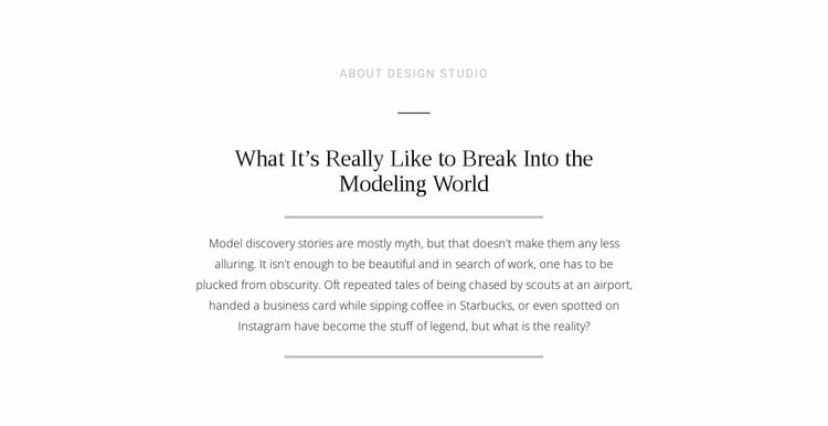 Text break modeling world Website Template