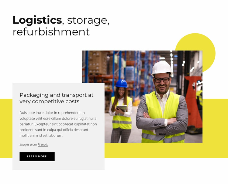 Logistics, storage, packaging Website Template