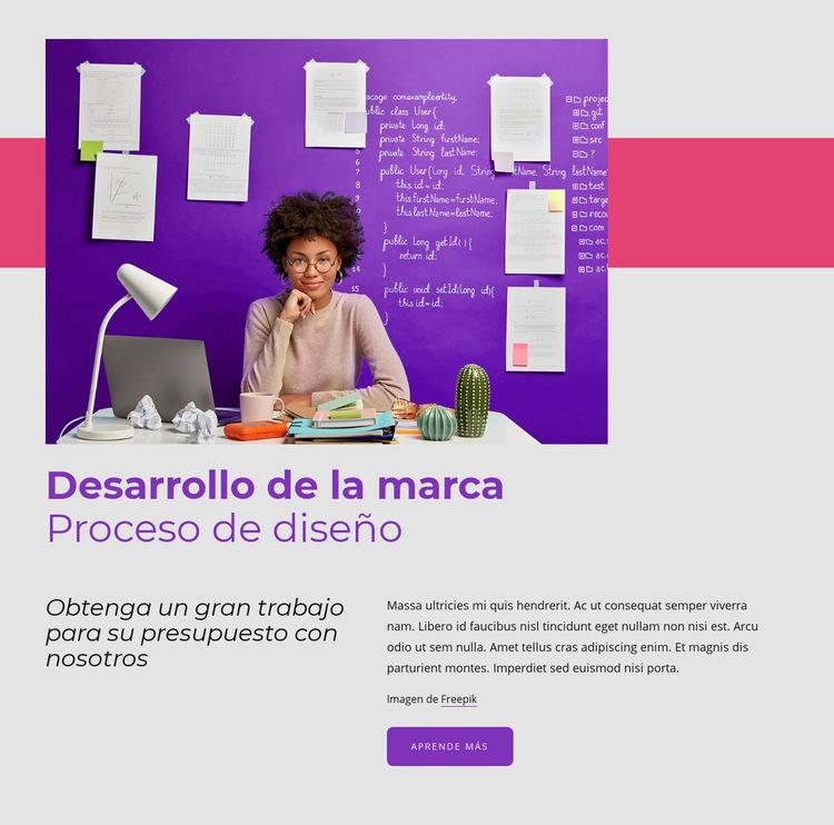 Proceso de diseño de marca Plantilla de sitio web