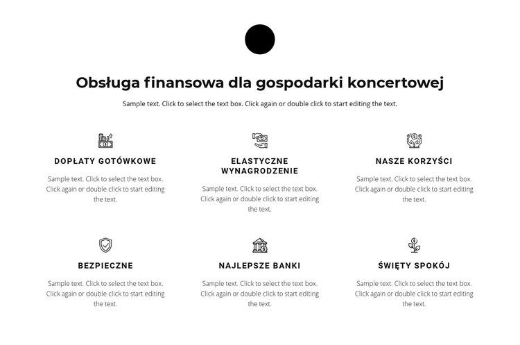 Sześć kierunków pracy Szablon witryny sieci Web