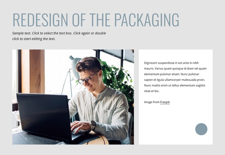 Redesign of the packaging Web Page Design
