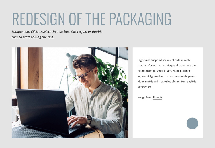 Redesign of the packaging Website Builder Software
