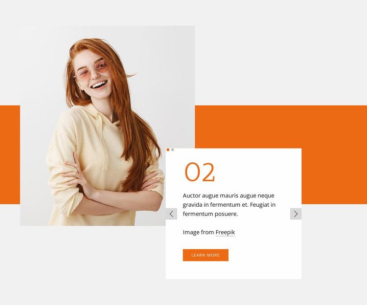 Slider with rectangle and image Website Mockup