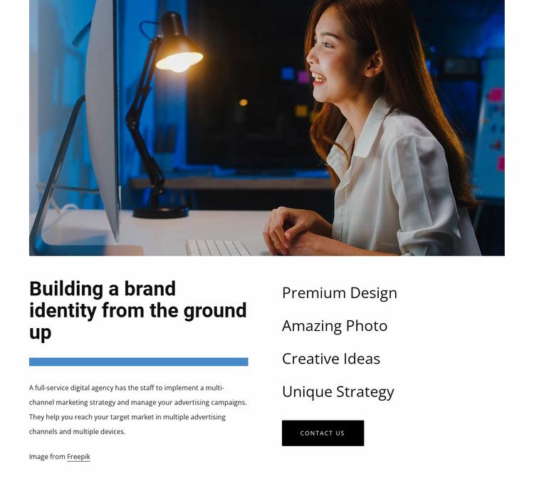 Buiding a brand identity WordPress Website Builder