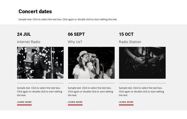 Concert dates Html Code Example