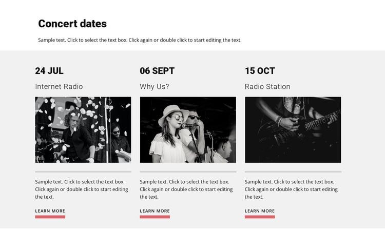 Concert dates HTML Template