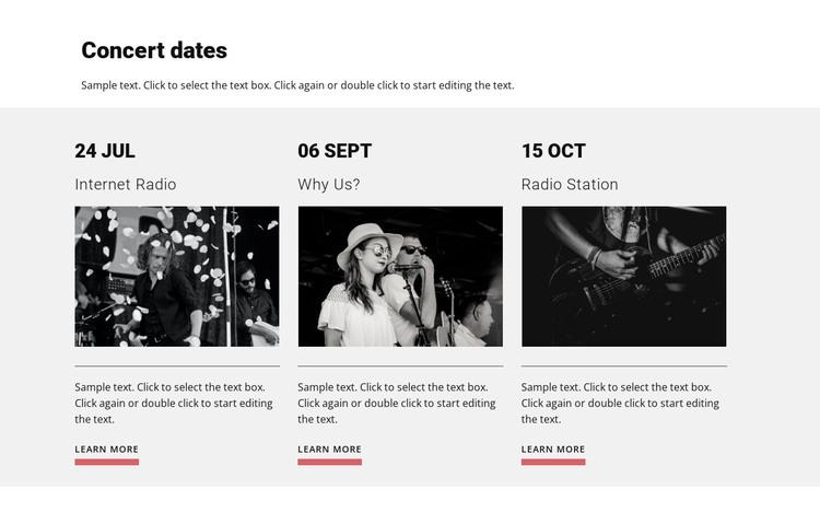 Concert dates Web Design