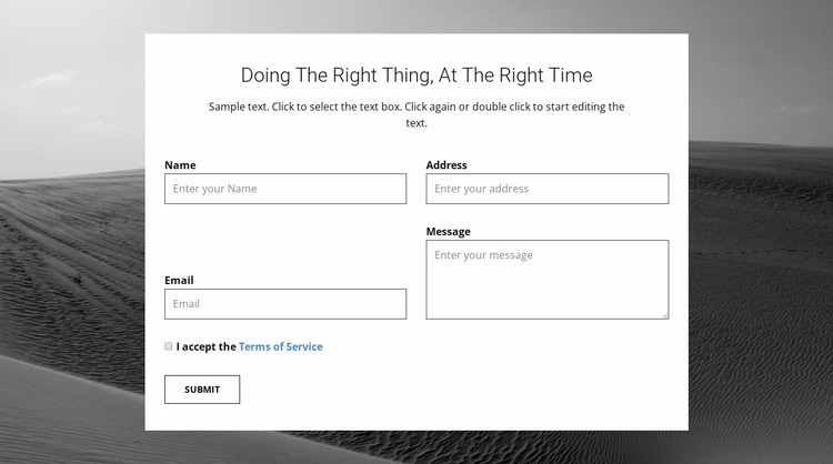 Agency contacts form Website Mockup