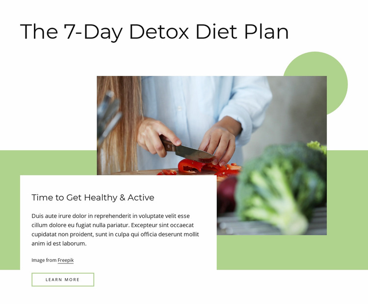 Detox diet plan Website Mockup