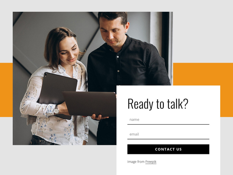 Contact form with rectangle and image One Page Template