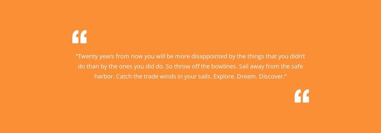 Quote with orange background WordPress Website Builder