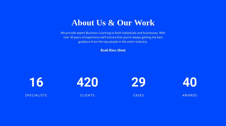 Counter About Us Html Website Builder