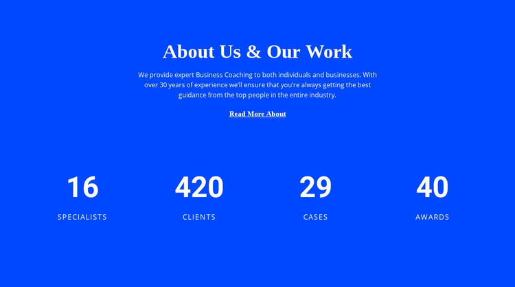 Counter About Us One Page Template